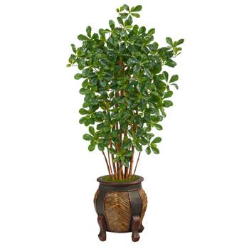 4.5 Black Olive Artificial Tree in Decorative Planter - SKU #T2458