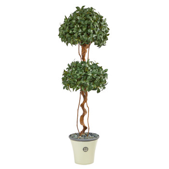 5.5 Sweet Bay Double Ball Topiary Artificial Tree in Decorative Planter - SKU #T2459