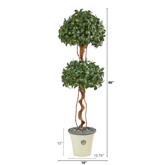 5.5 Sweet Bay Double Ball Topiary Artificial Tree in Decorative Planter - SKU #T2459 - 1