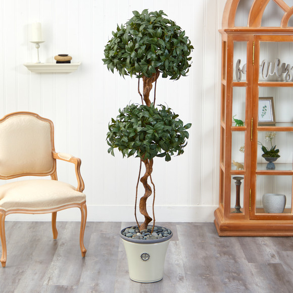 5.5 Sweet Bay Double Ball Topiary Artificial Tree in Decorative Planter - SKU #T2459 - 2