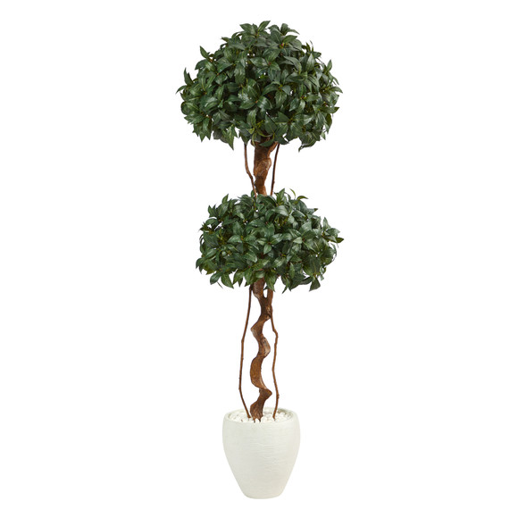 5.5 Sweet Bay Double Ball Topiary Artificial Tree in White Planter - SKU #T2460