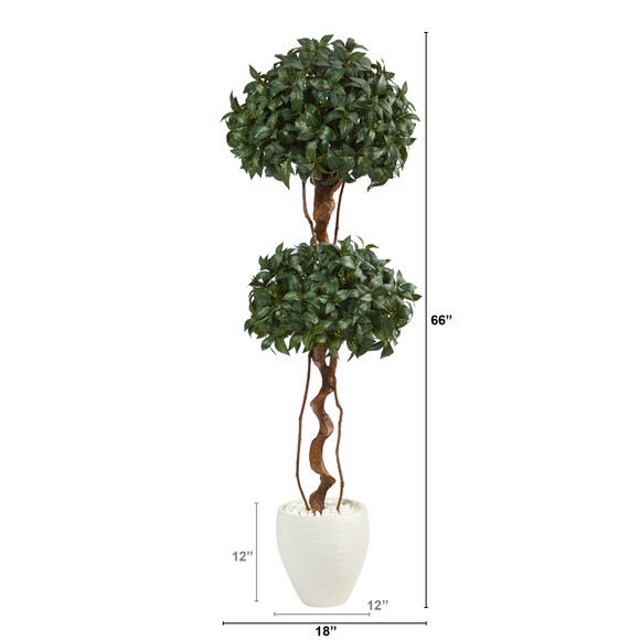 5.5 Sweet Bay Double Ball Topiary Artificial Tree in White Planter - SKU #T2460 - 1