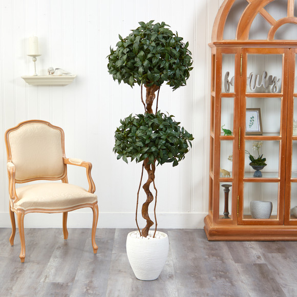 5.5 Sweet Bay Double Ball Topiary Artificial Tree in White Planter - SKU #T2460 - 2