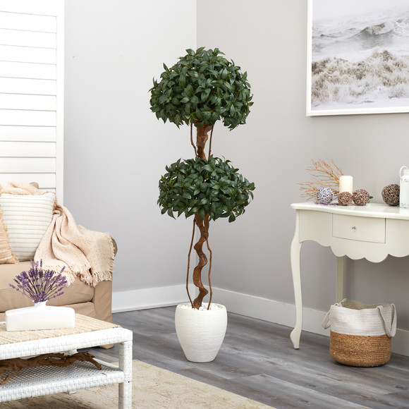 5.5 Sweet Bay Double Ball Topiary Artificial Tree in White Planter - SKU #T2460 - 3