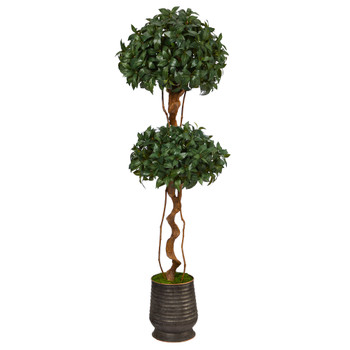68 Sweet Bay Double Ball Topiary Artificial Tree in Ribbed Metal Planter - SKU #T2461