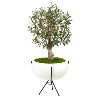 3 Olive Artificial Tree in White Planter with Metal Stand - SKU #T2462