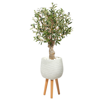 3.5 Olive Artificial Tree in White Planter with Stand - SKU #T2463