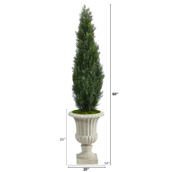 5 Cedar Artificial Tree in Sand Finished Urn Indoor/Outdoor - SKU #T2472 - 1
