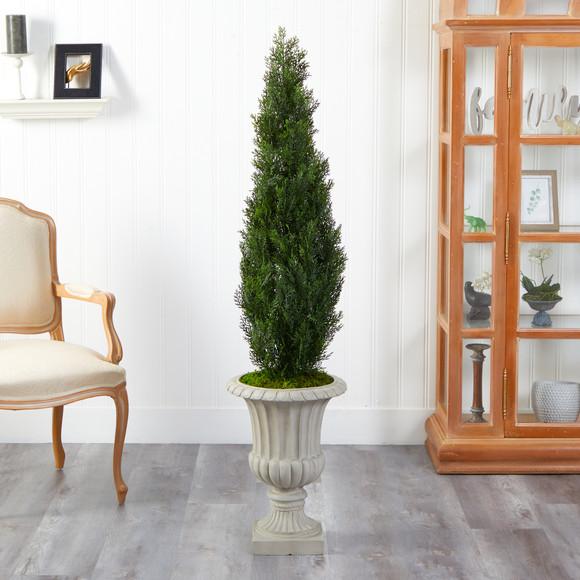 5 Cedar Artificial Tree in Sand Finished Urn Indoor/Outdoor - SKU #T2472 - 2
