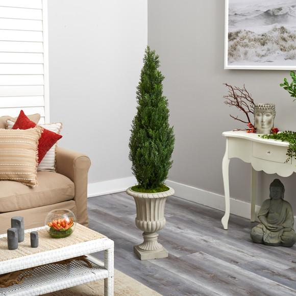 5 Cedar Artificial Tree in Sand Finished Urn Indoor/Outdoor - SKU #T2472 - 3