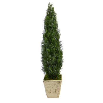 51 Cedar Artificial Tree in Country White Planter Indoor/Outdoor - SKU #T2473