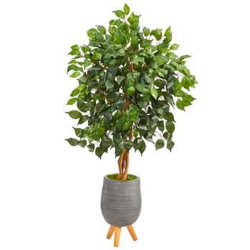 4 Ficus Artificial Tree in Gray Planter with Stand - SKU #T2474