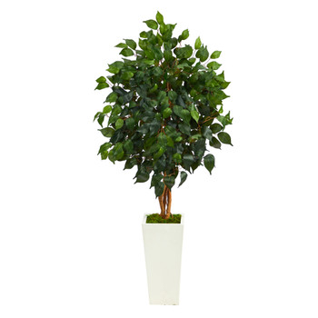 4 Ficus Artificial Tree in White Tower Planter - SKU #T2476