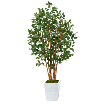 5.5 Ficus Bushy Artificial Tree in White Metal Planter - SKU #T2478