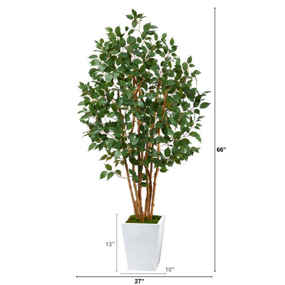 5.5 Ficus Bushy Artificial Tree in White Metal Planter - SKU #T2478 - 1
