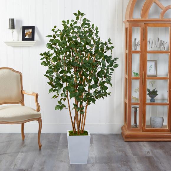 5.5 Ficus Bushy Artificial Tree in White Metal Planter - SKU #T2478 - 2