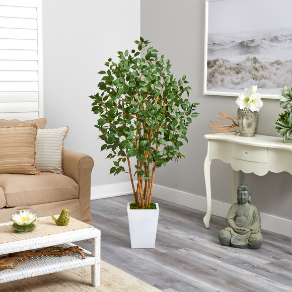 5.5 Ficus Bushy Artificial Tree in White Metal Planter - SKU #T2478 - 3
