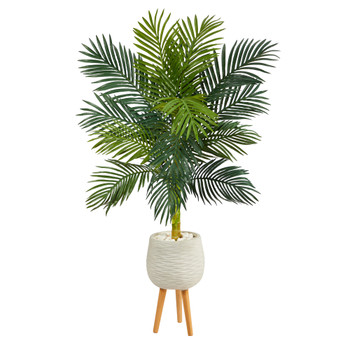 58 Golden Cane Artificial Palm Tree in White Planter with Stand - SKU #T2479