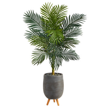 58 Golden Cane Artificial Palm Tree in Gray Tri-Pod Planter - SKU #T2480