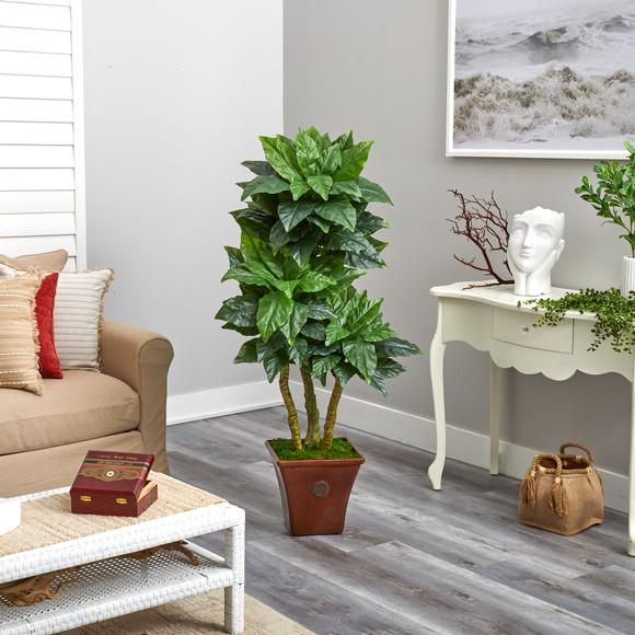 57 Bird Nest Artificial Tree in Brown Planter UV Resistant Indoor/Outdoor - SKU #T2481 - 3