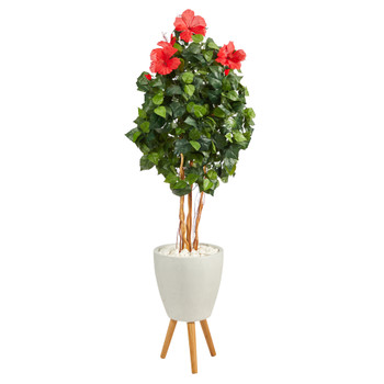 58 Hibiscus Artificial Tree in White Planter with Stand - SKU #T2483