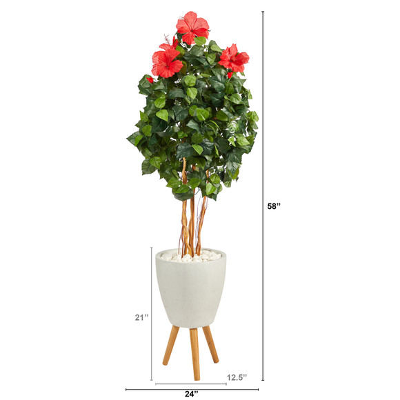 58 Hibiscus Artificial Tree in White Planter with Stand - SKU #T2483 - 1