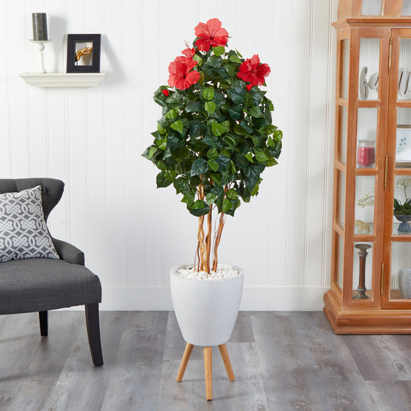 58 Hibiscus Artificial Tree in White Planter with Stand - SKU #T2483 - 2