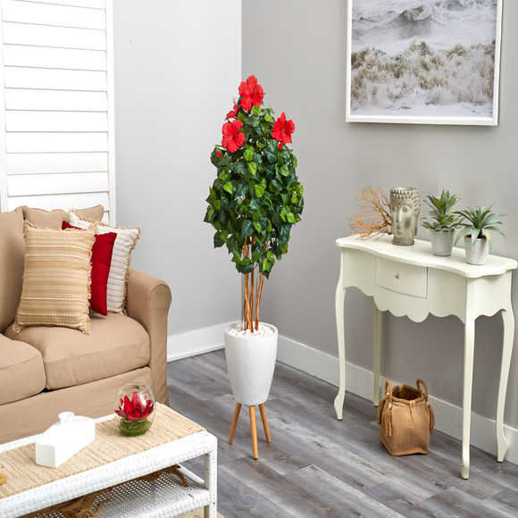 58 Hibiscus Artificial Tree in White Planter with Stand - SKU #T2483 - 3
