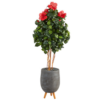 58 Hibiscus Artificial Tree in Gray Planter with Stand - SKU #T2484