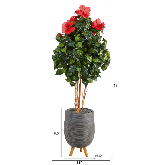 58 Hibiscus Artificial Tree in Gray Planter with Stand - SKU #T2484 - 1