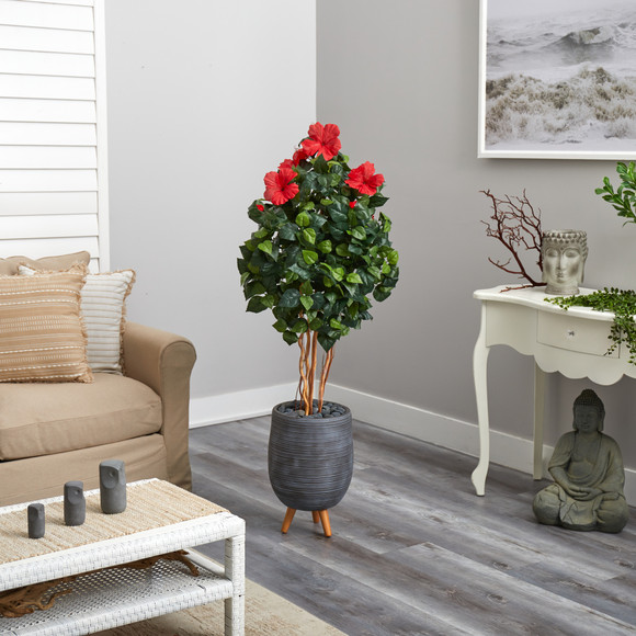58 Hibiscus Artificial Tree in Gray Planter with Stand - SKU #T2484 - 3