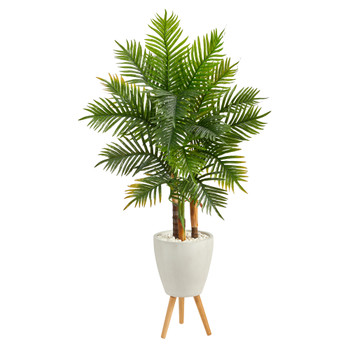 63 Areca Artificial Palm Tree in White Planter with Stand Real Touch - SKU #T2485