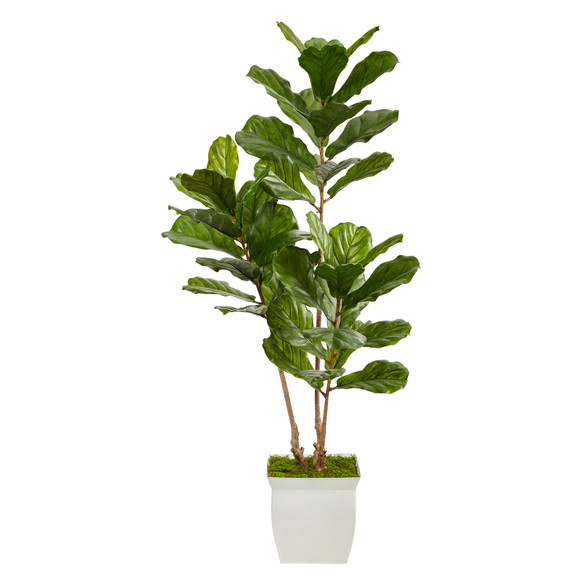 5.5 Fiddle Leaf Artificial Tree in White Metal Planter UV Resistant Indoor/Outdoor - SKU #T2487