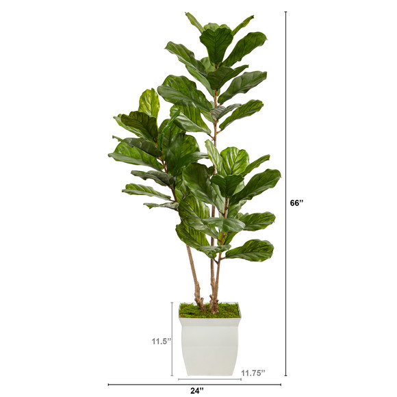 5.5 Fiddle Leaf Artificial Tree in White Metal Planter UV Resistant Indoor/Outdoor - SKU #T2487 - 1