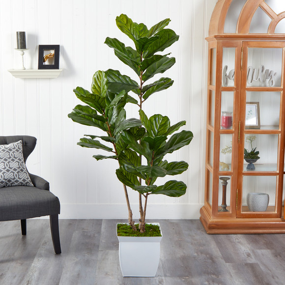 5.5 Fiddle Leaf Artificial Tree in White Metal Planter UV Resistant Indoor/Outdoor - SKU #T2487 - 2