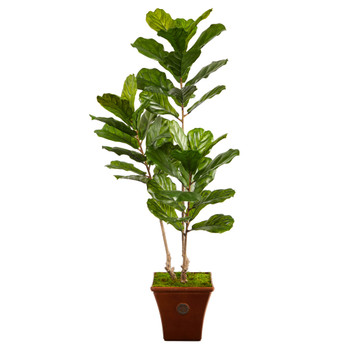 5.5 Fiddle Leaf Artificial Tree in Brown Planter UV Resistant Indoor/Outdoor - SKU #T2489
