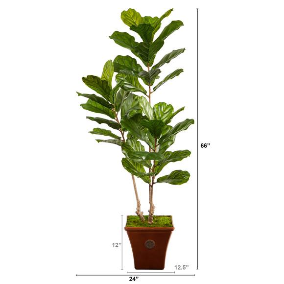 5.5 Fiddle Leaf Artificial Tree in Brown Planter UV Resistant Indoor/Outdoor - SKU #T2489 - 1