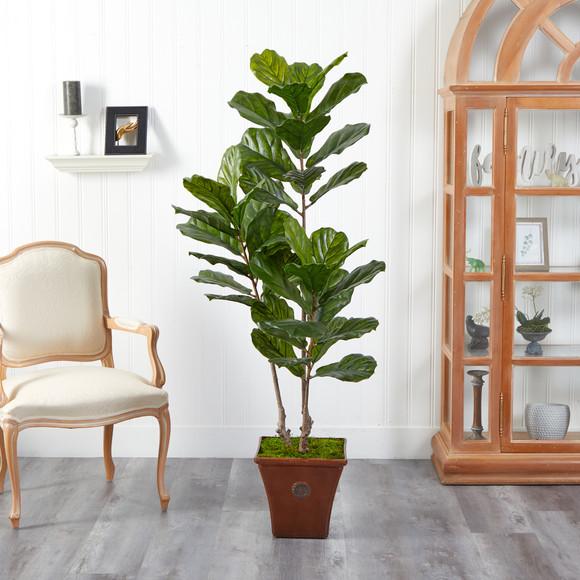 5.5 Fiddle Leaf Artificial Tree in Brown Planter UV Resistant Indoor/Outdoor - SKU #T2489 - 2