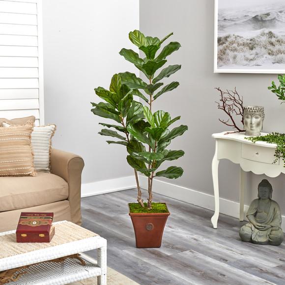 5.5 Fiddle Leaf Artificial Tree in Brown Planter UV Resistant Indoor/Outdoor - SKU #T2489 - 3