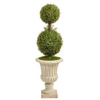 4 Double Boxwood Topiary Artificial Tree in Sand Finished Urn - SKU #T2490