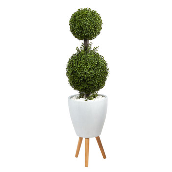 4 Double Boxwood Topiary Artificial Tree in White Planter with Stand Indoor/Outdoor - SKU #T2491