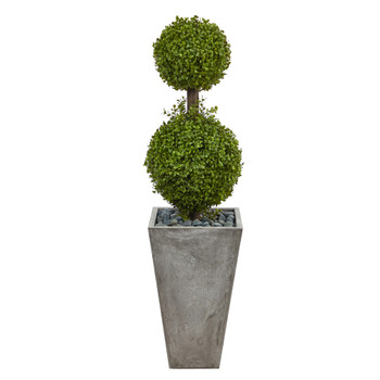 4 Double Boxwood Topiary Artificial Tree in Cement Planter Indoor/Outdoor - SKU #T2492
