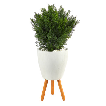 3 Cedar Artificial Tree in White Planter with Stand Indoor/Outdoor - SKU #T2495