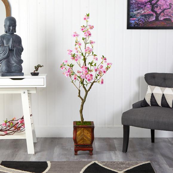 56 Cherry Blossom Artificial Tree in Decorative Planter - SKU #T2496 - 2