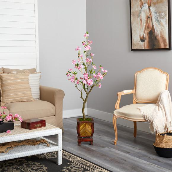 56 Cherry Blossom Artificial Tree in Decorative Planter - SKU #T2496 - 3