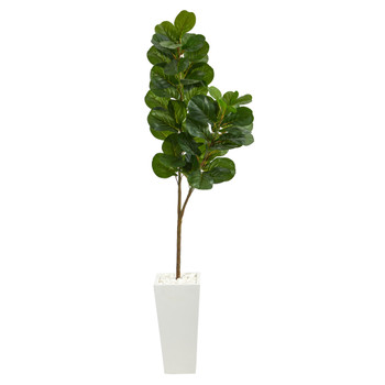 6 Fiddle leaf Fig Artificial Tree in Tall White Planter - SKU #T2499