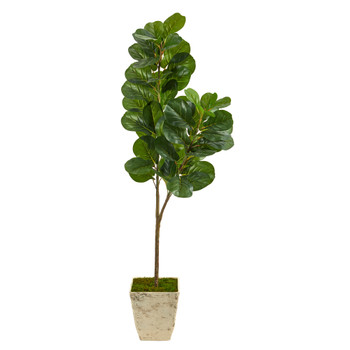 5.5 Fiddle leaf Fig Artificial Tree in Country White Planter - SKU #T2500
