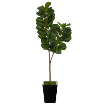 68 Fiddle leaf Fig Artificial Tree in Black Metal Planter - SKU #T2501