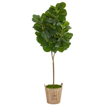 74 Fiddle leaf Fig Artificial Tree in Farmhouse Planter - SKU #T2502