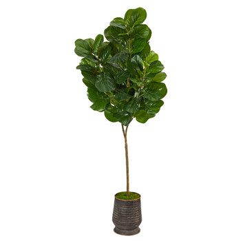 74 Fiddle leaf Fig Artificial Tree in Ribbed Metal Planter - SKU #T2503